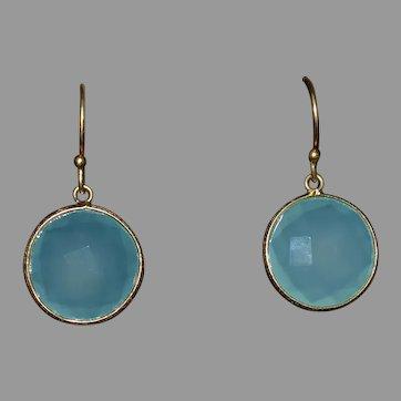 Vintage Sterling silver 925 faceted blue gemstone earrings