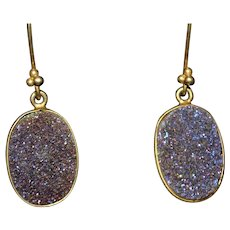 Vintage purple druzy gemstone drop earrings