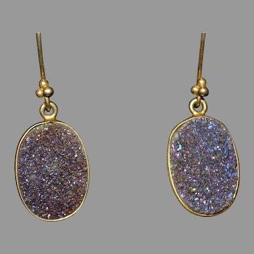 Vintage purple druzy gemstone drop earrings