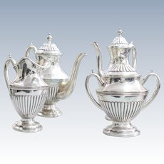 A coffee and tea set Portuguese sterling solid silver