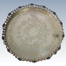 A Portuguese silver gallery salver