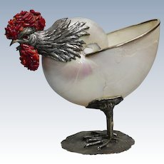Sterling Silver Rooster with Pearlized Nautilus Shell and Coral on Sterling Silver Base