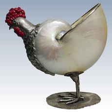 Sterling Silver chicken with Pearlized Nautilus Shell and Coral on Sterling Silver Base