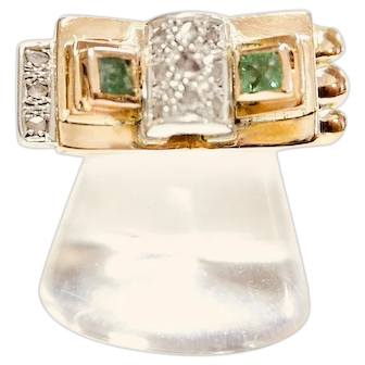 19.2k Gold Portuguese Deco Emeralds Diamonds Ring