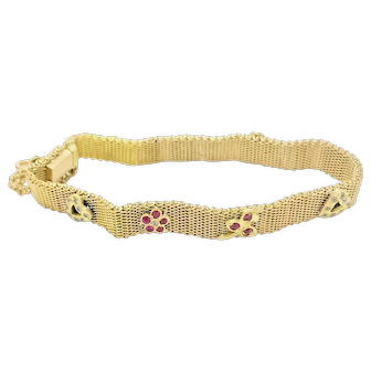 1920´s Bracelet 19.2K Gold With Hearts and Flowers Design