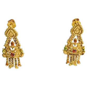 22K Gold and Enamel Earrings Indian