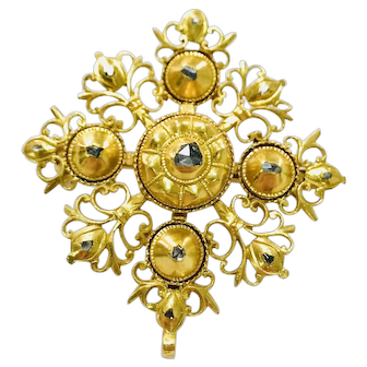 Antique Portuguese 19.2k Gold Brooch - Pendant 18 Century Rose Cut Diamonds