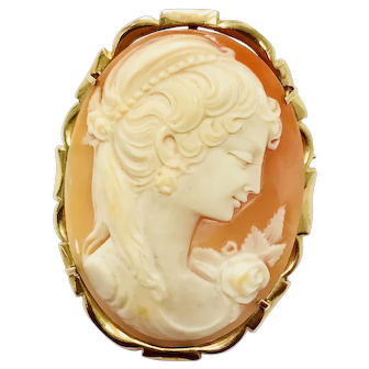 14K Gold Cameo Brooch Lady