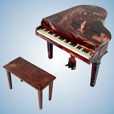 Mid-Century Renwal Hard Plastic Dollhouse Piano and Bench