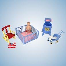 1950s Renwal/Acme Nursery Furniture & Baby Doll – Lot of 7