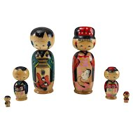Girl and Boy Kokeshi Nesting Dolls