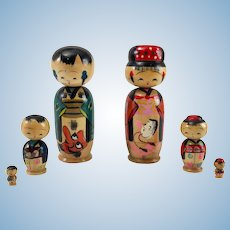 Girl and Boy Kokeshi Nesting Dolls