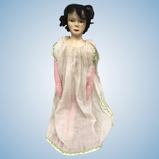 Lovely Hand Painted Papier Mâché Doll with Wax Over and Cloth Body