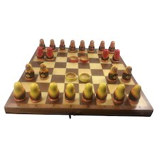 Hand Painted Matryoshka Game of Draughts/Checkers Made in USSR