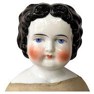 """Bawo & Dotter 22"""" Brunette China Head Doll ca. 1880"""