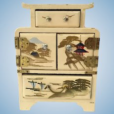 Hand Painted Japanese Miniature Dollhouse Dresser