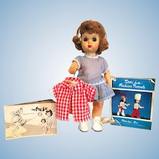 1950s Tiny Terri Lee Doll Plus Tagged Shirt and Catalog Booklets