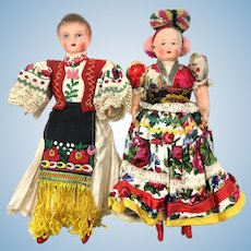 Hungarian Couple in Traditional Matyó Dress