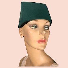 Yves Saint Laurent Rive Gauche Asymmetrical Box Hat ca. late 1960s - early 70s