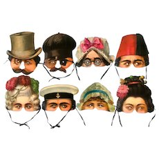 Victorian Paper Masks from Stockholm Leksaksmuseum Archives – Set of 8