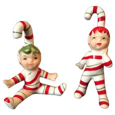 Vintage Lefton Candy Cane Pixies – Set of 2