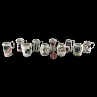 Set of 10 Vintage Hand Painted Porcelain Miniature Dollhouse Beer Mugs