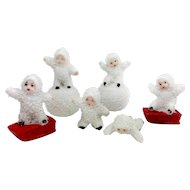 Vintage German Bisque Snow Babies – Set of Six
