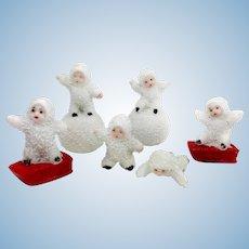 Vintage German Bisque Snow Babies – Set of Six