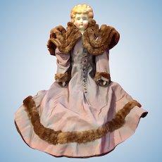 "Low Brow Blond China Head Doll 22"" Original Dress 1860s-1910s"