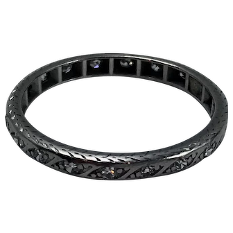 1900-1920s Platinum Hand Engraved Eternity Band