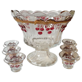 Vintage Cherry Thumbprint Decorated 7 Piece Miniature Punch Bowl Set by Mosser Glass