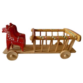 Hand Carved Horses and Wagon Pull Toy Made in Poland