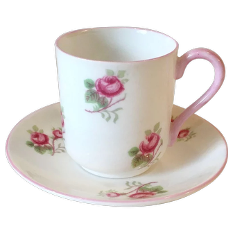 Vintage Shelley Miniature Canterbury Shape Tea Cup and Saucer in Rose Spray Pattern
