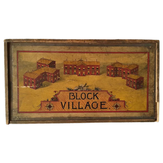 1920s Wooden Block Village in Original Dovetail Box with Slide Lid