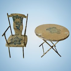 Antique Lithographed Tin Miniature Dollhouse Table and Chair