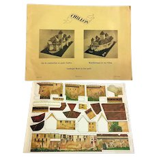 Vintage Swiss Chillon Castle Cardboard Model ca. 1950