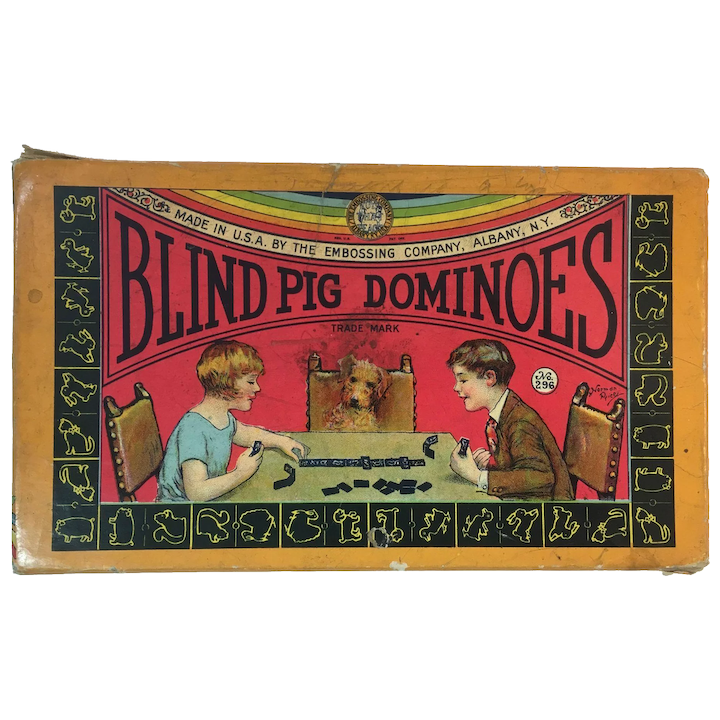 1920s Blind Pig Dominoes by The Embossing Company, Albany, N Y