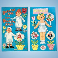 1961 Raggedy Ann & Andy and Marcella Paper Dolls – Uncut