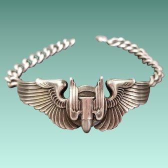 WWII Aerial Gunner Air Corps Wings Sterling Sweetheart Bracelet