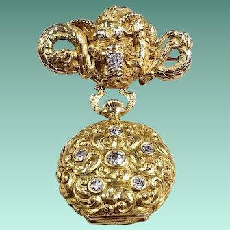 14k & 18k Yellow Gold Lapel Watch & Pin