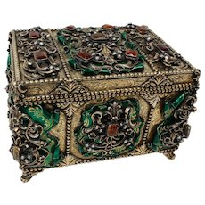 Austro Hungarian Gilt Silver Jeweled Casket with Enamel and Gems, c.1900
