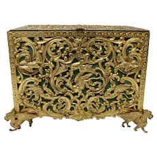 Gilt Bronze Jewel Casket, featuring Griffons, Birds, & Dragons, c.1800