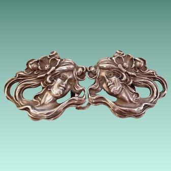 William Kerr Art Nouveau Sterling Silver Belt Buckle c.1901