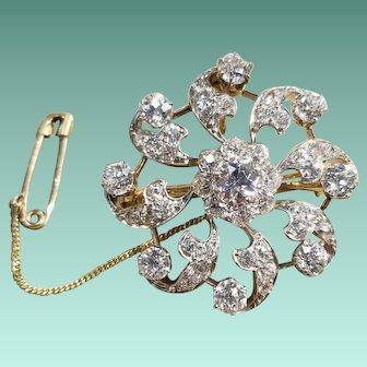 Platinum & 14k Yellow Gold Diamond Pin/Brooch