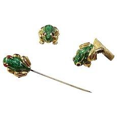 Vintage David Webb 18k y/g Enameled Frog Cufflinks & Stick Pin
