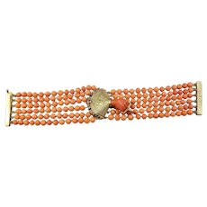 Italian 18k Yellow Gold and Six-Strand Mediterranean Coral Bracelet, Late 1800's