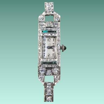 Art Deco Platinum, Diamond, & Emerald Wristwatch, c.1920's