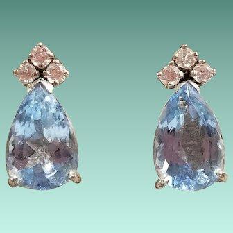 18K White Gold Aquamarine and Diamond Earrings