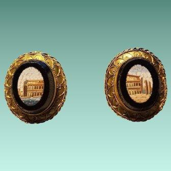 14K Yellow Gold Micro-Mosaic Earrings