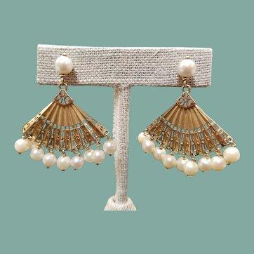 14K Yellow Gold Akoya Pearl Fan Earrings